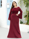 Elegant Round Neckline Lace Mermaid Evening Dress-Burgundy 6