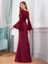 Elegant Round Neckline Lace Mermaid Evening Dress-Burgundy 2