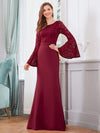 Elegant Round Neckline Lace Mermaid Evening Dress-Burgundy 1