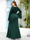 Elegant Round Neckline Lace Mermaid Evening Dress-Dark Green 7