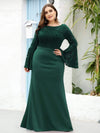 Elegant Round Neckline Lace Mermaid Evening Dress-Dark Green 6
