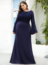 Elegant Round Neckline Lace Mermaid Evening Dress-Navy Blue 6
