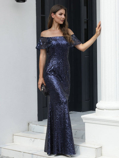 Women's Off Shoulder Ruffle Sleeve Sequin Evening Dress