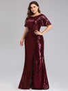 Women'S Plus Size Sequin Dress Mermaid Maxi Dress-Burgundy 3