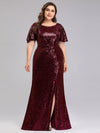 Women'S Plus Size Sequin Dress Mermaid Maxi Dress-Burgundy 4