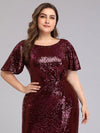Women'S Plus Size Sequin Dress Mermaid Maxi Dress-Burgundy 5