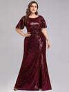 Women'S Plus Size Sequin Dress Mermaid Maxi Dress-Burgundy 1
