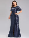 Women'S Plus Size Sequin Dress Mermaid Maxi Dress-Navy Blue 3