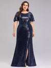 Women'S Plus Size Sequin Dress Mermaid Maxi Dress-Navy Blue 4