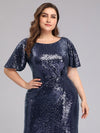 Women'S Plus Size Sequin Dress Mermaid Maxi Dress-Navy Blue 5