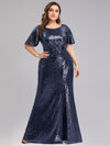Women'S Plus Size Sequin Dress Mermaid Maxi Dress-Navy Blue 1