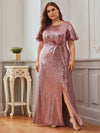 Women'S Plus Size Sequin Dress Mermaid Maxi Dress-Purple Orchid 4
