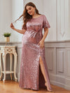 Women'S Plus Size Sequin Dress Mermaid Maxi Dress-Purple Orchid 1