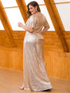 Women'S Plus Size Sequin Dress Mermaid Maxi Dress-Rose Gold 2