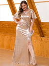 Women'S Plus Size Sequin Dress Mermaid Maxi Dress-Rose Gold 3
