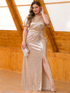 Women'S Plus Size Sequin Dress Mermaid Maxi Dress-Rose Gold 4