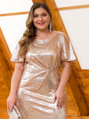Women'S Plus Size Sequin Dress Mermaid Maxi Dress-Rose Gold 5