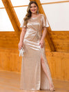 Women'S Plus Size Sequin Dress Mermaid Maxi Dress-Rose Gold 1