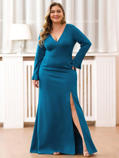 Plus Size Elegant V Neck High Slit Evening Dress