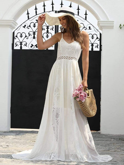 V-neck Spaghetti Straps Lace Maxi Dress