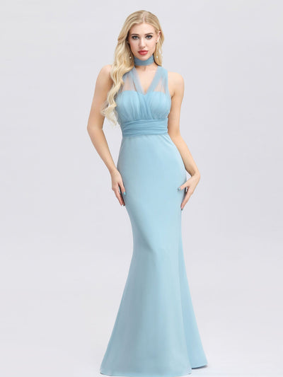 Women's Sweetheart Neckline Self-tie Bodycon Mermaid Bridesmaid Dress