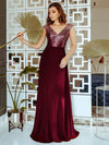 V Neck Sleeveless Floor Length Sequin Party Dress-Burgundy 1