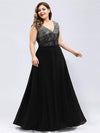 V Neck Sleeveless Floor Length Sequin Party Dress-Black 6