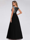 V Neck Sleeveless Floor Length Sequin Party Dress-Black 2