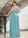 V Neck Sleeveless Floor Length Sequin Party Dress-Dusty Blue 12