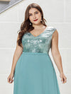 Plus Size V Neck Sleeveless Floor Length Sequin Party Dress-Dusty Blue 5