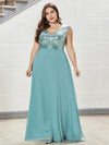 Plus Size V Neck Sleeveless Floor Length Sequin Party Dress-Dusty Blue 1