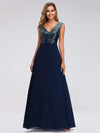 V Neck Sleeveless Floor Length Sequin Party Dress-Navy Blue 1