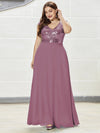 Plus Size V Neck Sleeveless Floor Length Sequin Party Dress-Purple Orchid 3