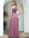 V Neck Sleeveless Floor Length Sequin Party Dress-Purple Orchid 7