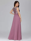 V Neck Sleeveless Floor Length Sequin Party Dress-Purple Orchid 2