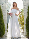 Plain Off Shoulder Chiffon Wedding Dress With Side Split-White 1