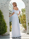 Plain Off Shoulder Chiffon Wedding Dress With Side Split-White 2