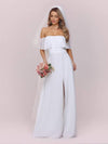 Plain Off Shoulder Chiffon Wedding Dress With Side Split-White 6