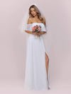 Plain Off Shoulder Chiffon Wedding Dress With Side Split-White 7