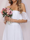 Plain Off Shoulder Chiffon Wedding Dress With Side Split-White 8