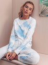 Feminine Tie-Dye Loungewear Track Suit For Sports-Sky Blue 1