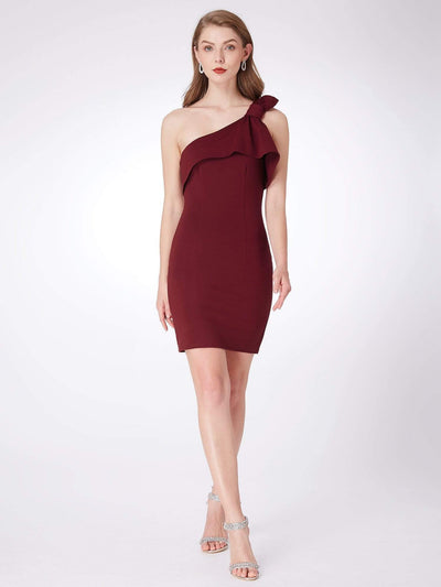 One Shoulder Short Cocktail Party Dress