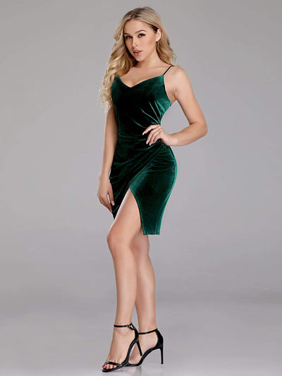 Sexy Fitted Green Velvet Cocktail Dress