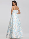 Spaghetti Straps Long Floral Print Maxi Dress-Sky Blue 8