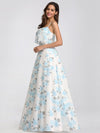 Spaghetti Straps Long Floral Print Maxi Dress-Sky Blue 9