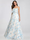 Spaghetti Straps Long Floral Print Maxi Dress-Sky Blue 10