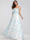 Spaghetti Straps Long Floral Print Maxi Dress-Sky Blue 7