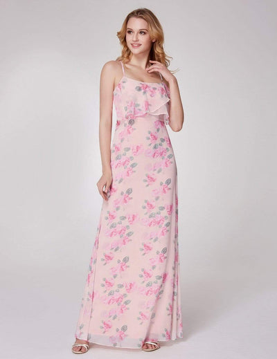 Spaghetti Straps Long Floral Print Maxi Dress