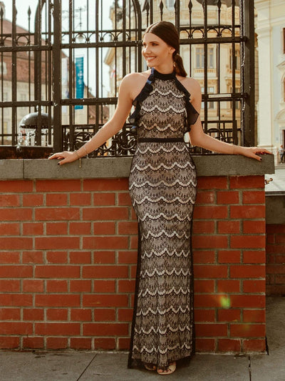 Halter Neck Long Lace Evening Dress