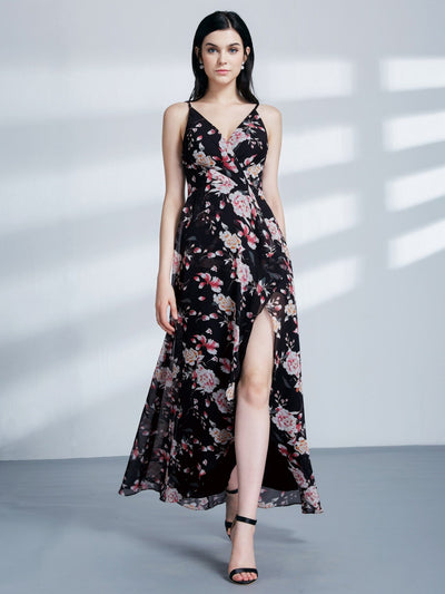 Sexy High Low Floral Print Maxi Dress